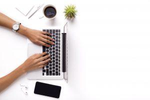 Overhead of hands on keyboard